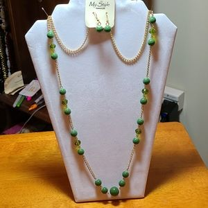 GREEN & GOLD 30 INCH NECKLACE & EARRINGS